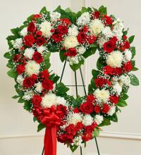 Always Remember Red & White Floral Heart Tribute