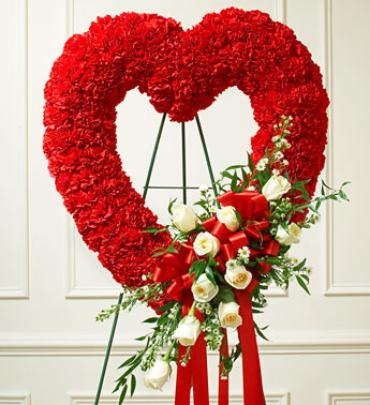 Red and White Open Heart with White Roses